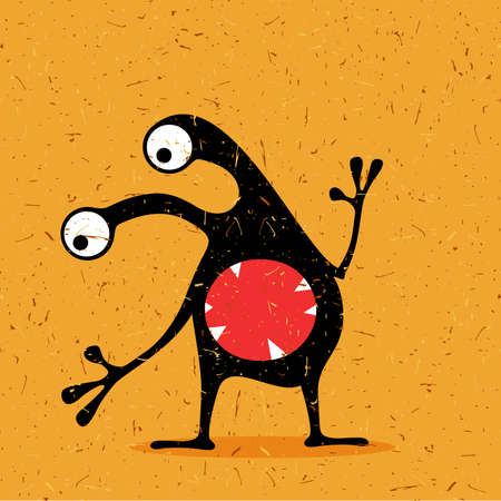 Cute black monster with emotions on grunge desert yellow background. cartoon illustration.