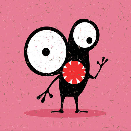 fiend: Cute black monster with emotions on grunge pink background. cartoon illustration.