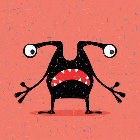 cute ghost: Cute black monster with emotions on grunge red background. cartoon illustration. Illustration