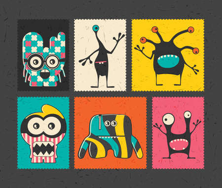 doddle: Set of six retro postage`s stamp with funny monsters on different color background,. Cartoon illustration.