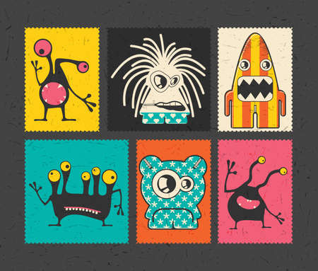 doddle: Set of six retro postage`s stamp with funny monsters on different color background ,. Cartoon illustration.