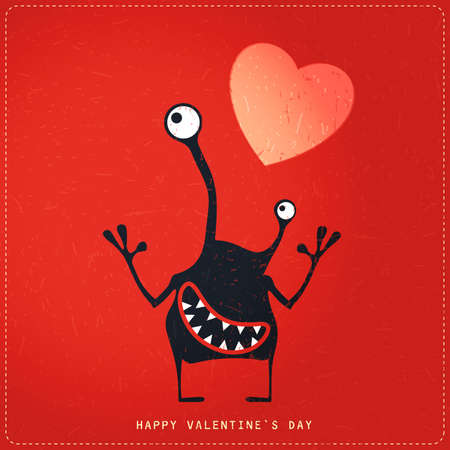 amore: Cute Monster with emotions and heart on retro red grunge background. Cartoon illustration. Valentine`s day gift card. Illustration