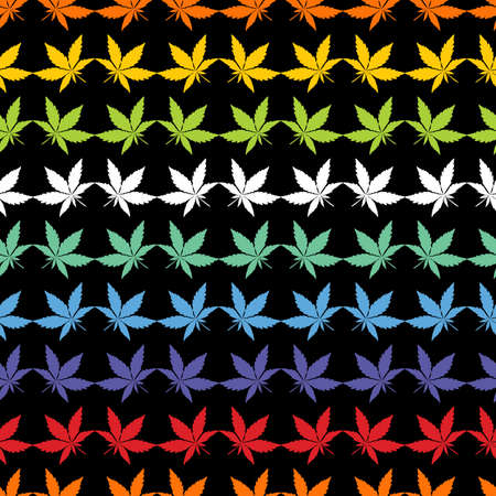 Color Cannabis leaves on black background - seamless pattern.