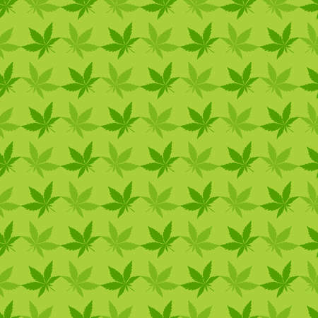 Green Cannabis leaves - seamless pattern. Illustration
