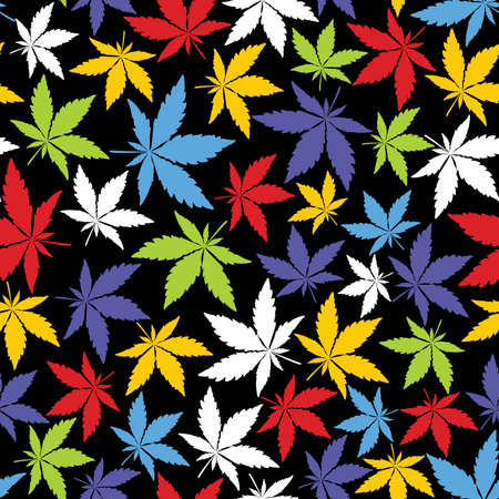 dope: Color Cannabis leaves on black background - seamless pattern.