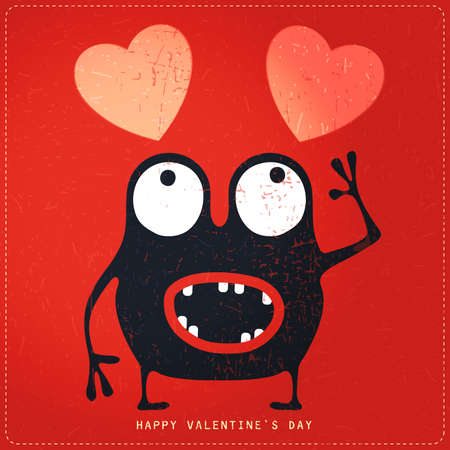 Cute Monster with emotions and heart on retro red grunge background. Cartoon illustration. Valentine`s day gift card. Illustration