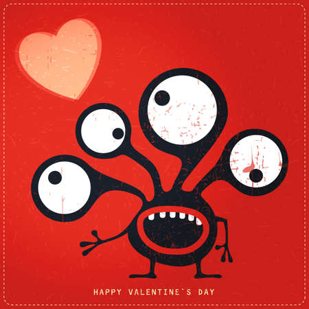 cute ghost: Cute Monster with emotions and heart on retro red grunge background. Cartoon illustration. Valentine`s day gift card. Illustration
