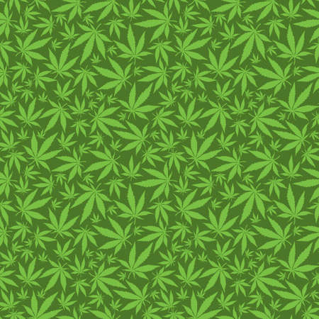 Cannabis leaves on green background -  seamless pattern. Illustration