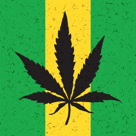 Cannabis leaf on grunge yellow and green flag. Vector illustration