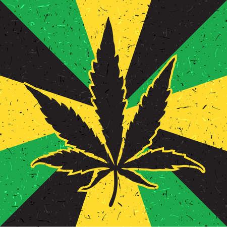 Grunge yellow and green flag-cannabis leaf. Vector illustration Illustration