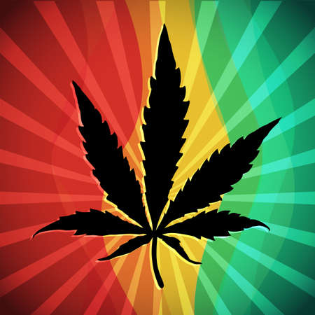 Black Cannabis leaf on rastafarian flag. Vector illustration