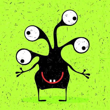 Monstruo negro lindo con emociones en el fondo verde del grunge. Ilustración de dibujos animados.