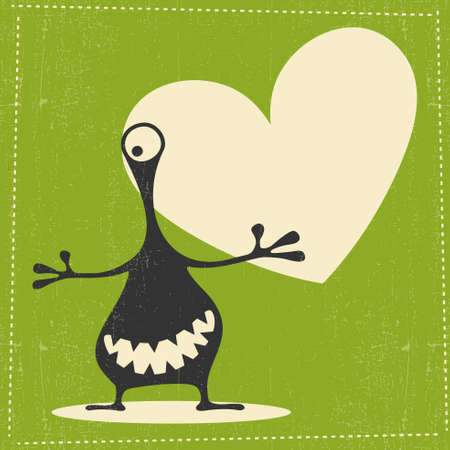 green grunge background: Funny black monster with emotions and chat cloud on green grunge background, Illustration