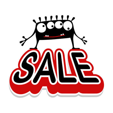 Cute black monster with emotions standing on inflated text Sale