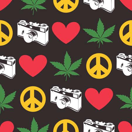 rastafari: Hippie seamless pattern with marijuana leaves,  old camera, heart, peace symbol on black background. Wrapping paper. Vector illustration Illustration