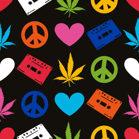 Color Hippie seamless pattern with marijuana leaves,  cassette records, heart, peace symbol on black background. Wrapping paper. Vector illustration