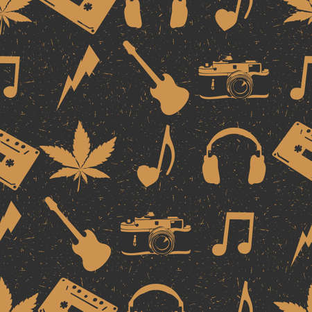 Hippie seamless pattern with marijuana leaves, headphones, old camera, heart, guitar,  music note, cassette records on dark background. Wrapping paper. Vector illustration
