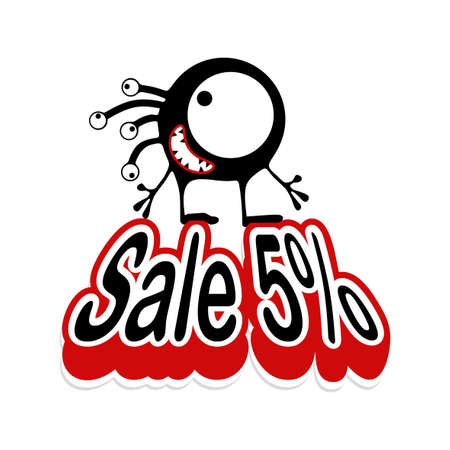 Cute black monster with emotions standing on inflated text Sale 5%