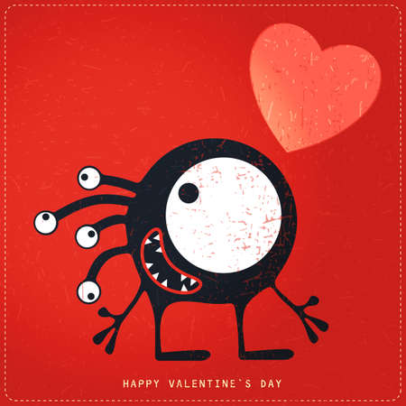 doddle: Cute Monster with emotions and heart on retro red grunge background. Cartoon illustration. Valentine`s day gift card. Illustration