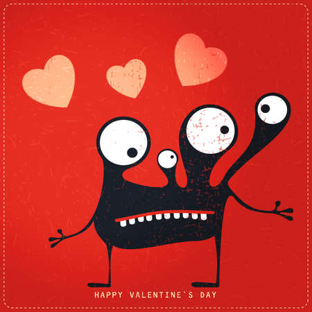 doddle: Cute Monster with emotions and hearts on retro red grunge background. Cartoon illustration. Valentine`s day gift card. Illustration