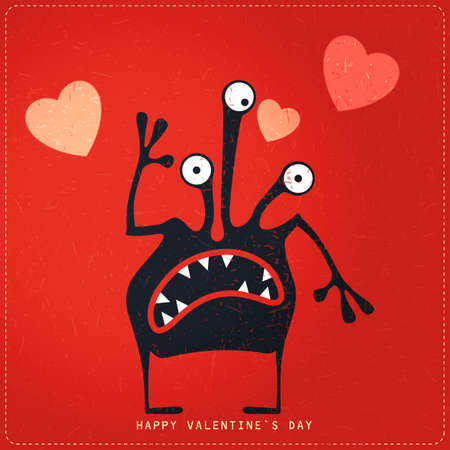 Cute Monster with emotions and hearts on retro red grunge background. Cartoon illustration. Valentine`s day gift card. Illustration
