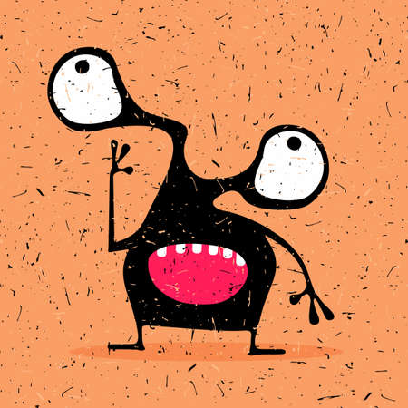 foots: Cute black monster with emotions, cartoon illustration. Illustration