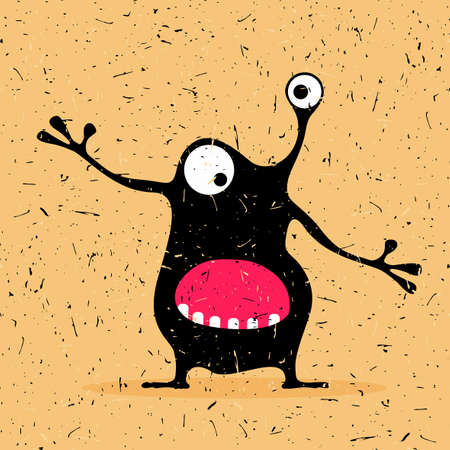 Cute black monster with emotions ,cartoon illustration. Illustration