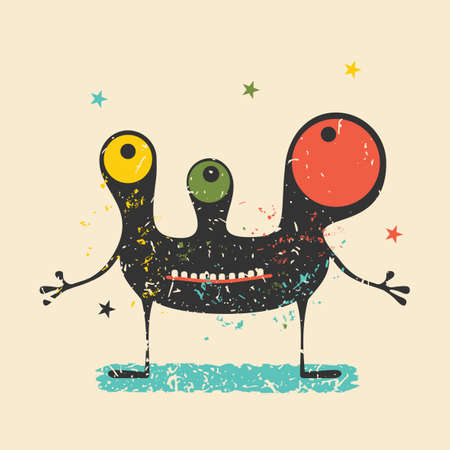 Cute black monster with emotions on retro grunge background. Cartoon illustration.