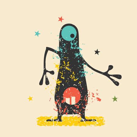 Monstruo negro lindo con emociones en el fondo retro del grunge. Ilustración de la historieta.