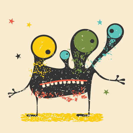 postage: Cute black monster with emotions on retro grunge background. Cartoon illustration.