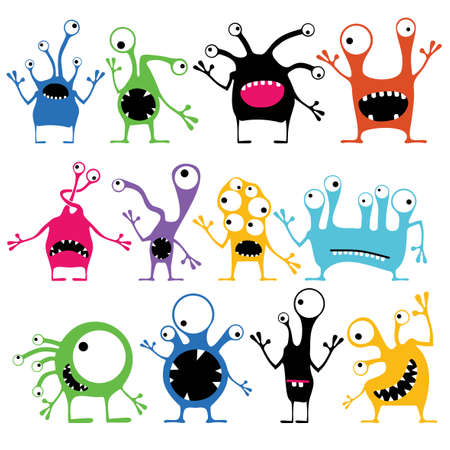 Set of twelve color cute monsters with emotions, isolated on white. Cartoon illustration Illustration