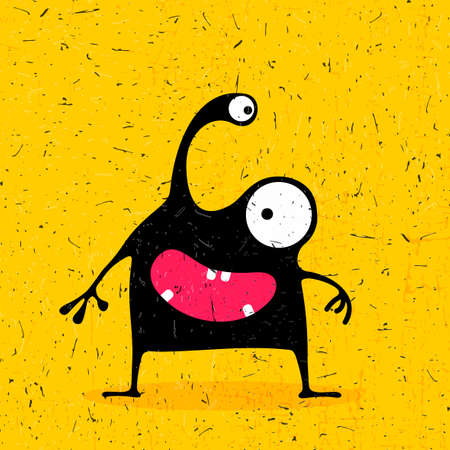 foots: Cute black monster with emotions on grunge yellow background. cartoon illustration.