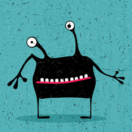 Cute black monster with emotions on grunge light blue background. cartoon illustration.