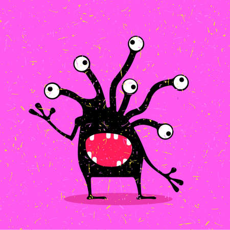 Cute black monster with emotions on grunge pink background. cartoon illustration.