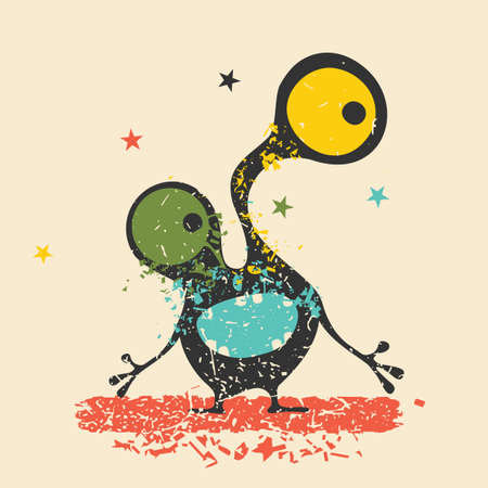 cute ghost: Cute black monster with emotions on retro grunge background. Cartoon illustration.