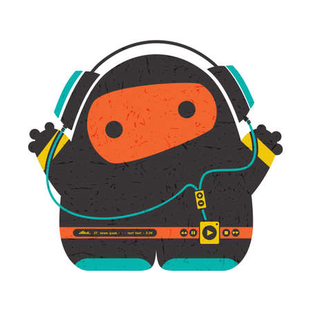 Funny characters with audio player listening music in headphones isolated on white . cartoon illustration with grunge shapes.