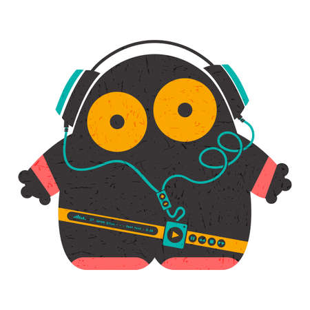 back belt: Funny characters with audio player listening music in headphones isolated on white . cartoon illustration with grunge shapes.