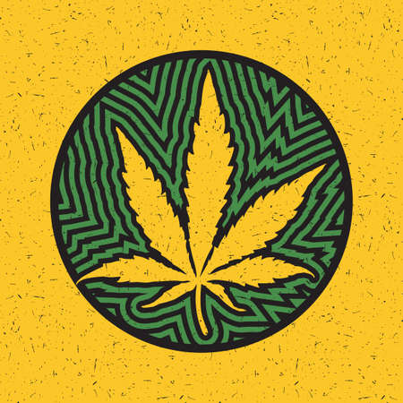 Cannabis leaf in a circle with green strips on a yellow grunge background
