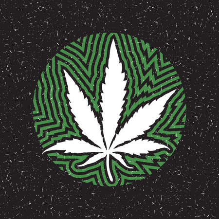 White cannabis leaf in a circle with green strips on black grunge background.