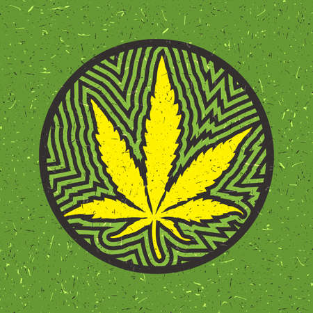 Yellow cannabis leaf in a circle with strips on a green grunge background Illustration