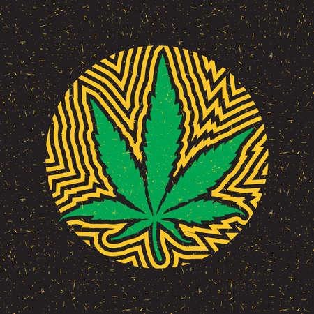 Groen cannabisblad in cirkel met gele stroken op zwarte grungeachtergrond