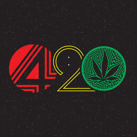 numbers background: Color text 420 with cannabis leaf inside of circle on grunge background.