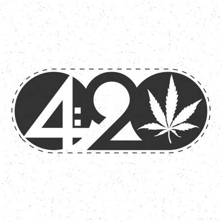 Text 420 with cannabis leaf inside of circle on grunge background.