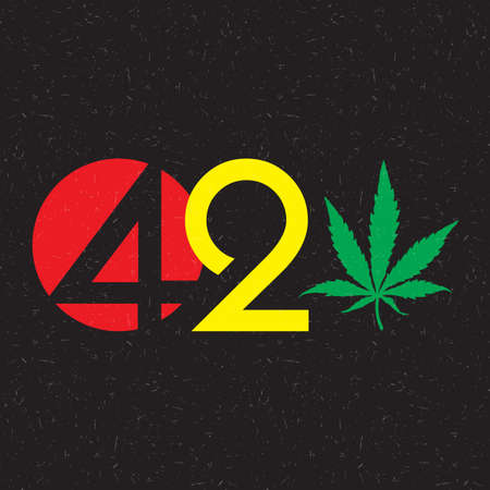Color text 420 with cannabis leaf inside of circle on grunge background.