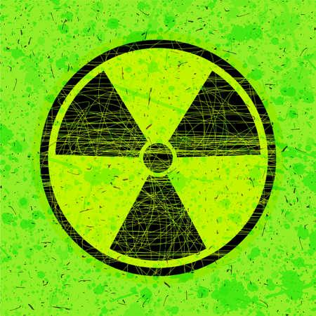 riesgo biologico: Icono de radiación en círculo sobre fondo verde grunge, ilustración vectorial