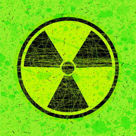 Radiation icon in circle on grunge green background, vector illustration Illustration