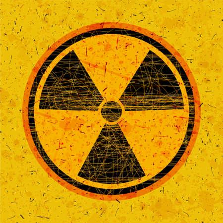 グランジ背景に円で放射線アイコン