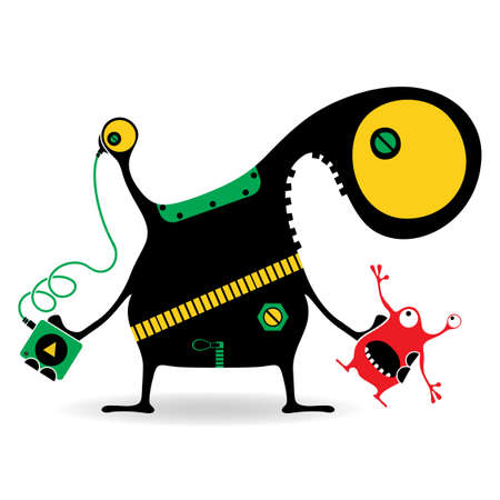 Color Funny monster with an audio player listening music in a headphone and a red doll monster in hand, isolated on white. Cartoon illustration