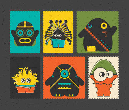 doddle: Set of six retro postage`s stamp with funny monsters on different color background. Cartoon illustration. vector stickers