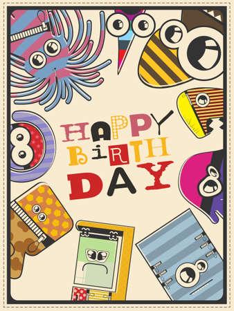bacteria cartoon: Happy birthday gift card with cute color monsters. Cartoon illustration. Invitation postcard